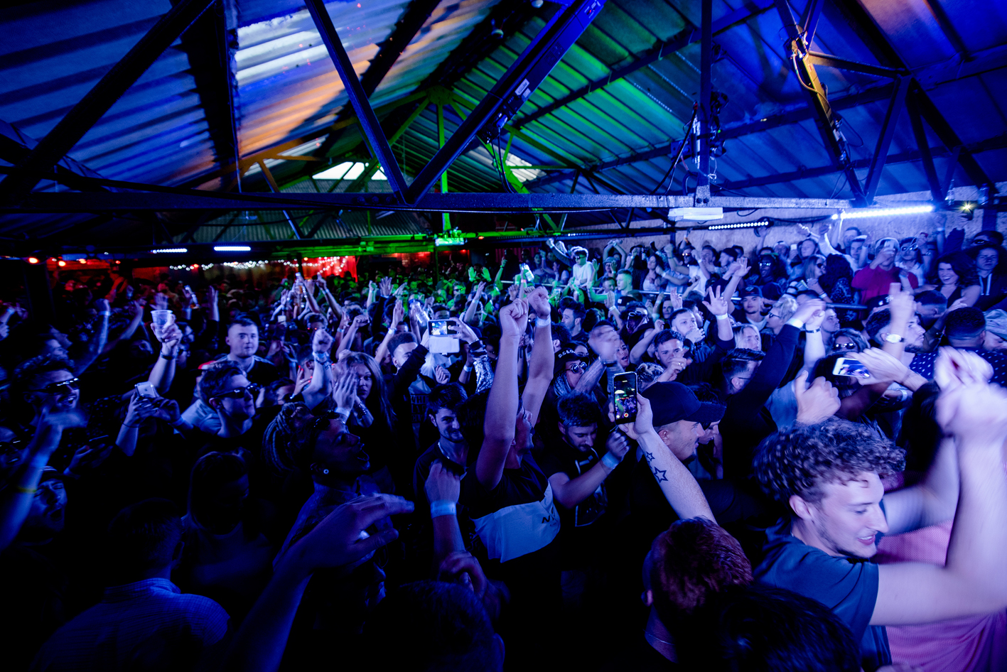 rave in a warehouse
